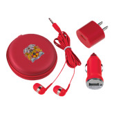3 in 1 Red Audio Travel Kit-Crest