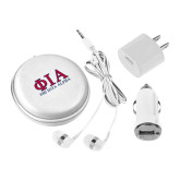 3 in 1 White Audio Travel Kit-Greek Letters Stacked