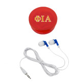 Ear Buds in Red Case-Official Greek Letters Two Color