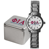 Mens Stainless Steel Fashion Watch-Greek Letters Stacked
