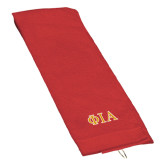 Red Golf Towel-Official Greek Letters Two Color