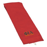 Red Golf Towel-Greek Letters Stacked