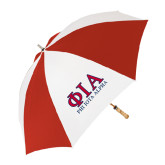 62 Inch Red/White Vented Umbrella-Greek Letters Stacked