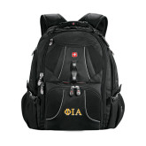 Wenger Swiss Army Mega Black Compu Backpack-Official Greek Letters Two Color