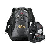 Wenger Swiss Army Tech Charcoal Compu Backpack-Official Greek Letters Two Color