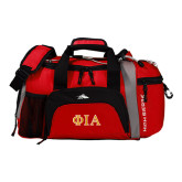 High Sierra Red/Black Switch Blade Duffel-Official Greek Letters Two Color