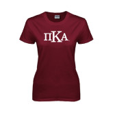 Ladies Maroon T Shirt-Official Greek Letters