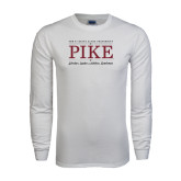 White Long Sleeve T Shirt-PIKE Lockup