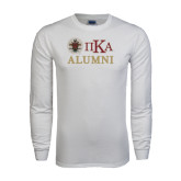 White Long Sleeve T Shirt-Alumni with Crest