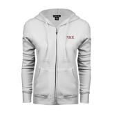 ENZA Ladies White Fleece Full Zip Hoodie-PIKE