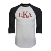 White/Black Raglan Baseball T-Shirt-Official Greek Letters