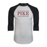 White/Black Raglan Baseball T-Shirt-PIKE Lockup