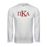Syntrel Performance White Longsleeve Shirt-Official Greek Letters