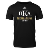 Adidas Black Logo T Shirt-Stacked Pi Kappa Alpha