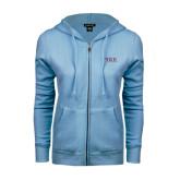 ENZA Ladies Light Blue Fleece Full Zip Hoodie-PIKE