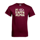 Maroon T Shirt-PIKE Digital Camo Stacked