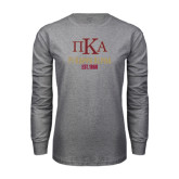 Grey Long Sleeve T Shirt-Stacked Pi Kappa Alpha