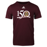 Adidas Maroon Logo T Shirt-150 Years