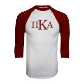 White/Maroon Raglan Baseball T Shirt-Official Greek Letters