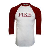White/Maroon Raglan Baseball T Shirt-PIKE