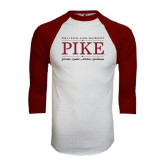 White/Maroon Raglan Baseball T Shirt-PIKE Lockup