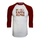White/Maroon Raglan Baseball T Shirt-PIKE Digital Camo Stacked