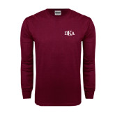 Maroon Long Sleeve T Shirt-Official Greek Letters