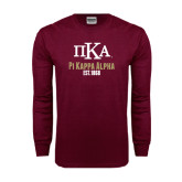 Maroon Long Sleeve T Shirt-Stacked Pi Kappa Alpha