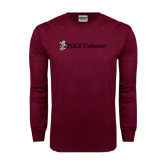 Maroon Long Sleeve T Shirt-PIKE Volunteer