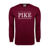 Maroon Long Sleeve T Shirt-PIKE Lockup