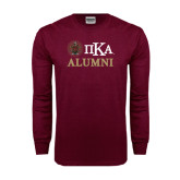 Maroon Long Sleeve T Shirt-Alumni with Crest