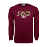 Maroon Long Sleeve T Shirt-PIKE Digital Camo