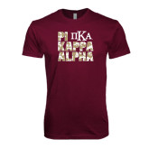 Next Level SoftStyle Maroon T Shirt-PIKE Digital Camo Stacked