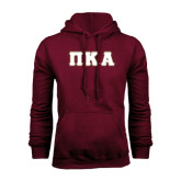 Maroon Fleece Hoodie-Greek Letters Tackle Twill