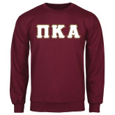 Maroon Fleece Crew-Greek Letters Tackle Twill