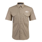 Khaki Short Sleeve Performance Fishing Shirt-Official Greek Letters
