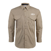 Khaki Long Sleeve Performance Fishing Shirt-Official Greek Letters