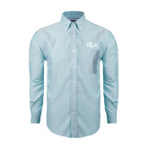 Mens Light Blue Oxford Long Sleeve Shirt-Official Greek Letters
