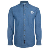 Denim Shirt Long Sleeve-Official Greek Letters