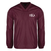 V Neck Maroon Raglan Windshirt-Official Greek Letters