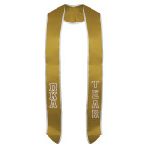 2018 Vegas Gold Graduation Stole w/White Trim-Stacked Greek Letters Tackle Twill