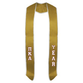 2017 Vegas Gold Graduation Stole w/White Trim-Stacked Greek Letters Tackle Twill