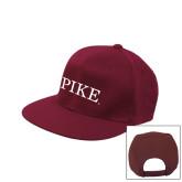 Maroon Flat Bill Snapback Hat-PIKE