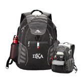 High Sierra Big Wig Black Compu Backpack-Official Greek Letters