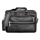Wenger Swiss Army Leather Black Double Compartment Attache-Debossed