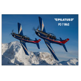 24 x 36 Poster Mounted to Foam Core-PC-7 MKIIs over Snow Cliffs