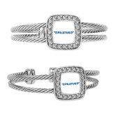 Crystal Studded Cable Cuff Bracelet With Square Pendant-