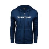 ENZA Ladies Navy Fleece Full Zip Hoodie-