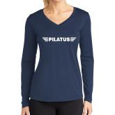 Ladies Syntrel Performance Navy Longsleeve Shirt-