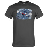 Charcoal T Shirt-PC-6 Over Snowy Cliff